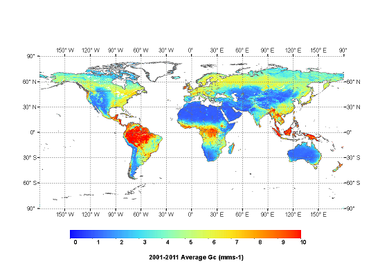 Mean global Gc for 2001-2011 derived from the ensemble of NDVI, EVI and Kc calculated from MCD43C4 data