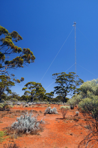 Flux tower measuring exchange of greenhouse gases at the Great Western Woodlands Supersite, Credo Station, Western Australia