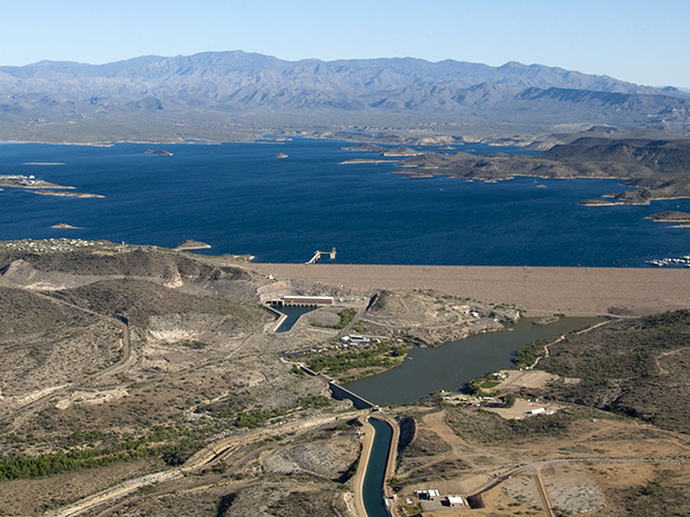 Lake Pleasant, Waddell Dam & Waddell Pumping/Generating plant. 19 MAR 2014 Central Arizona Project photo by Philip A. Fortnam