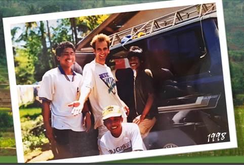 Albert van Dijk and friends at a flux tower, 1998.
