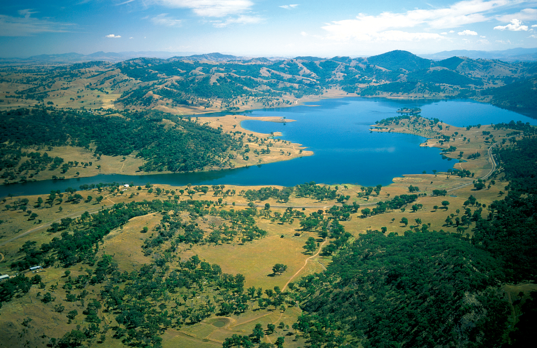 Aerial view of the Peel River running into the Chaffey Dam, NSW. 1996.
