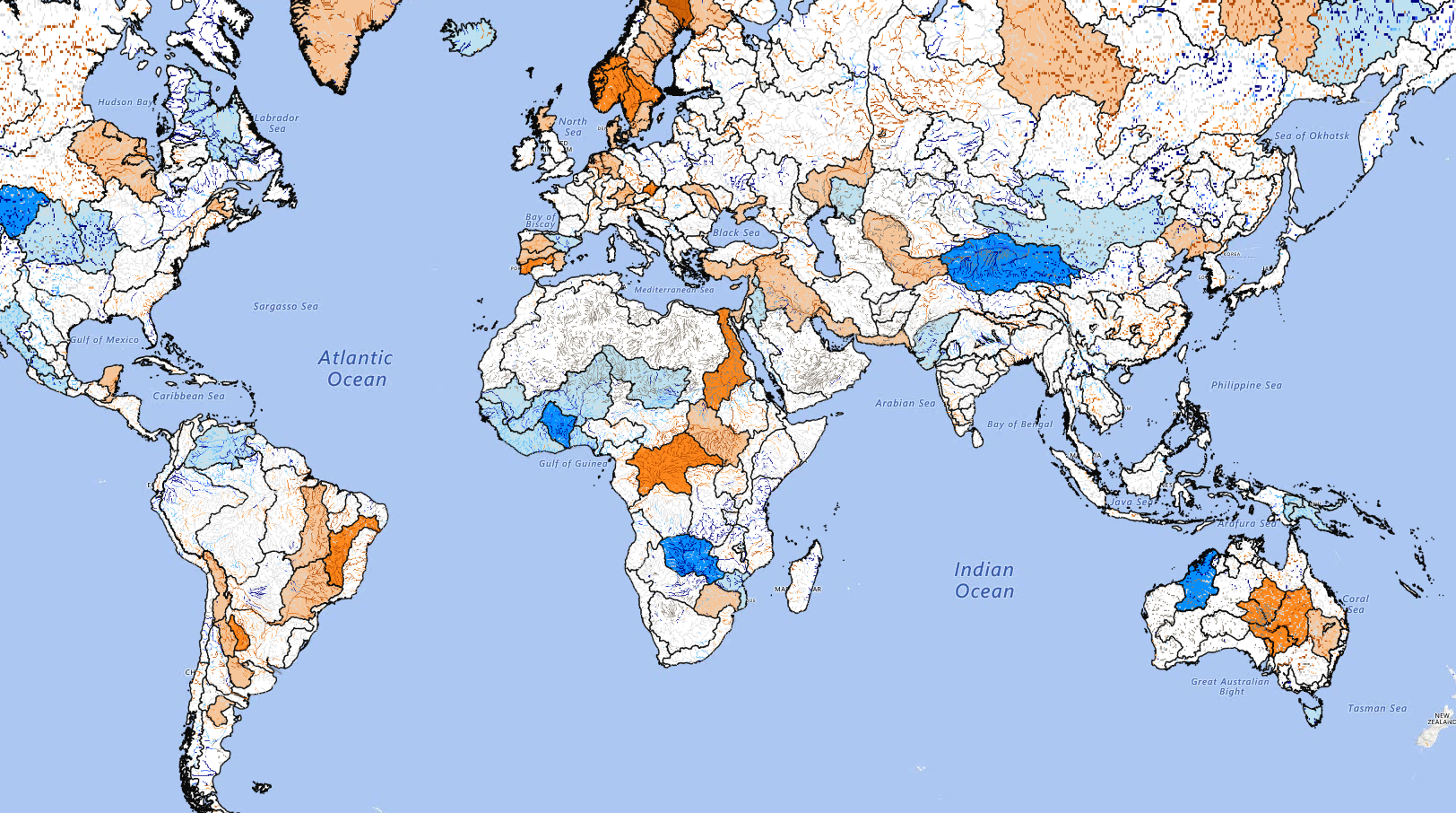 Seasonal basin and river forecast from globalfloods.eu.