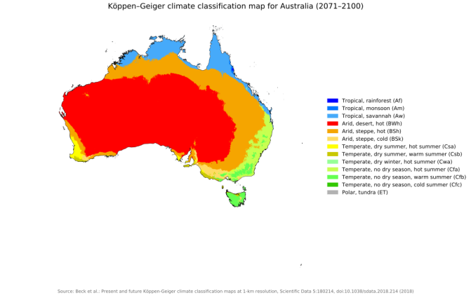 Map Of Australia Desert.New Global 1 Km Resolution Koppen Geiger Climate Classification Maps