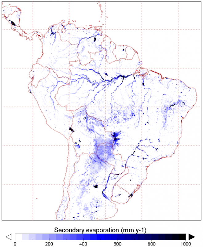 Spatial distribution of secondary evaporation losses in South America. (Source: Van Dijk et al., 2018)