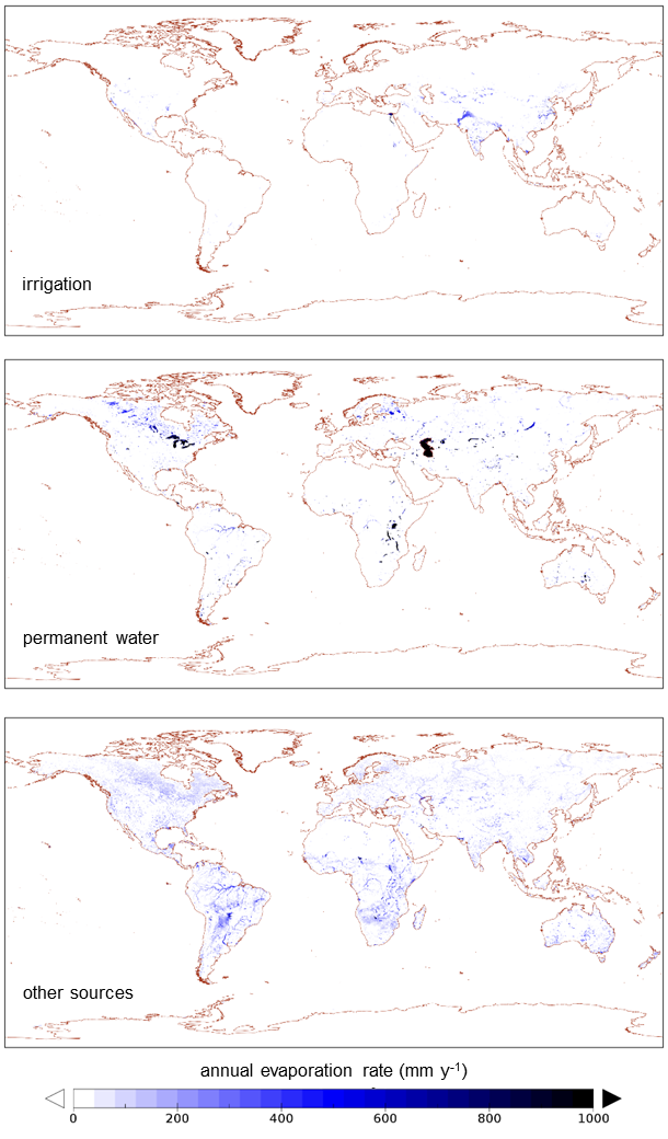Global maps of secondary evaporation from different sources. (Source: Van Dijk et al., 2018)