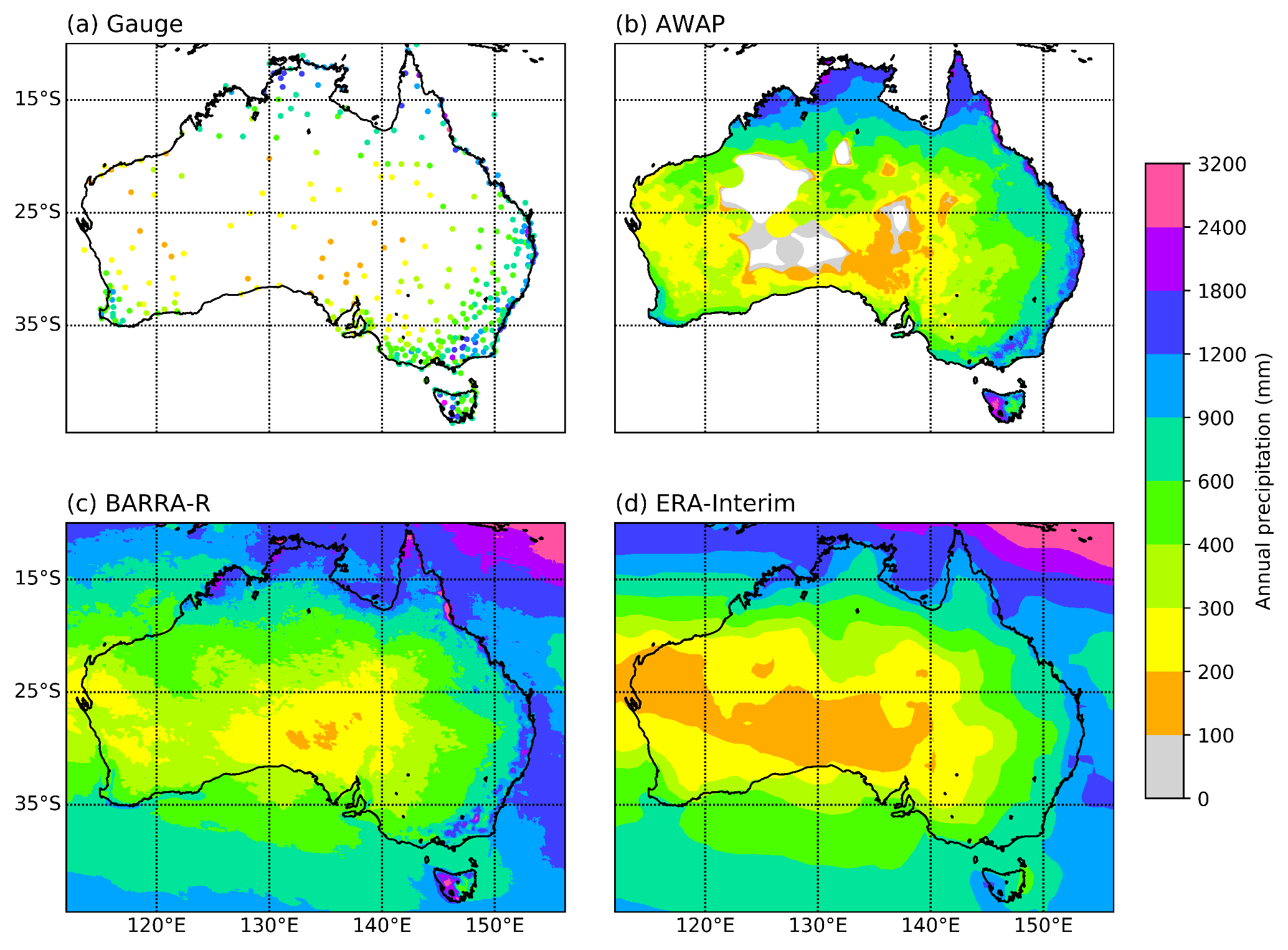 Figure 1 Annual precipitation across Australia (a) Gauge data, (b) AWAP, (c) BARRA-R, (d) ERA-Interim. Figure adapted from Acharya et al., 2019.