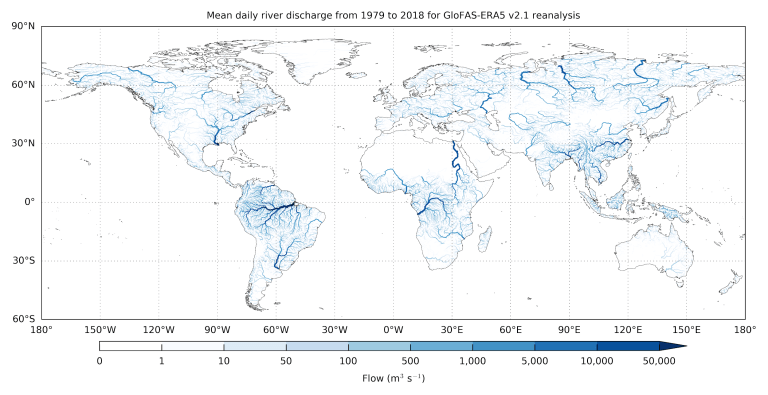 Figure 2: Mean GloFAS-ERA5 daily river discharge over 1979 to 2018 for each GloFAS river grid cell with an upstream area greater than 1000 km2. Darker blue river sections have larger river discharge (source: Harrigan et al., 2020).