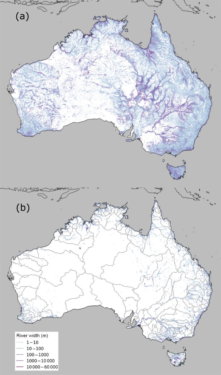 Figure 1 Maximum (a) and minimum (b) river width across Australia; 218 river regions delineated in grey in (b).