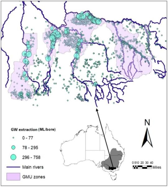Figure 1: Groundwater metered extraction from 2007-08 to 2016-17 mapped over surface-water rivers and groundwater (GMU) zones in the Goulburn Murray Irrigation District. (Source: based on data provided by Goulburn Murray Water)
