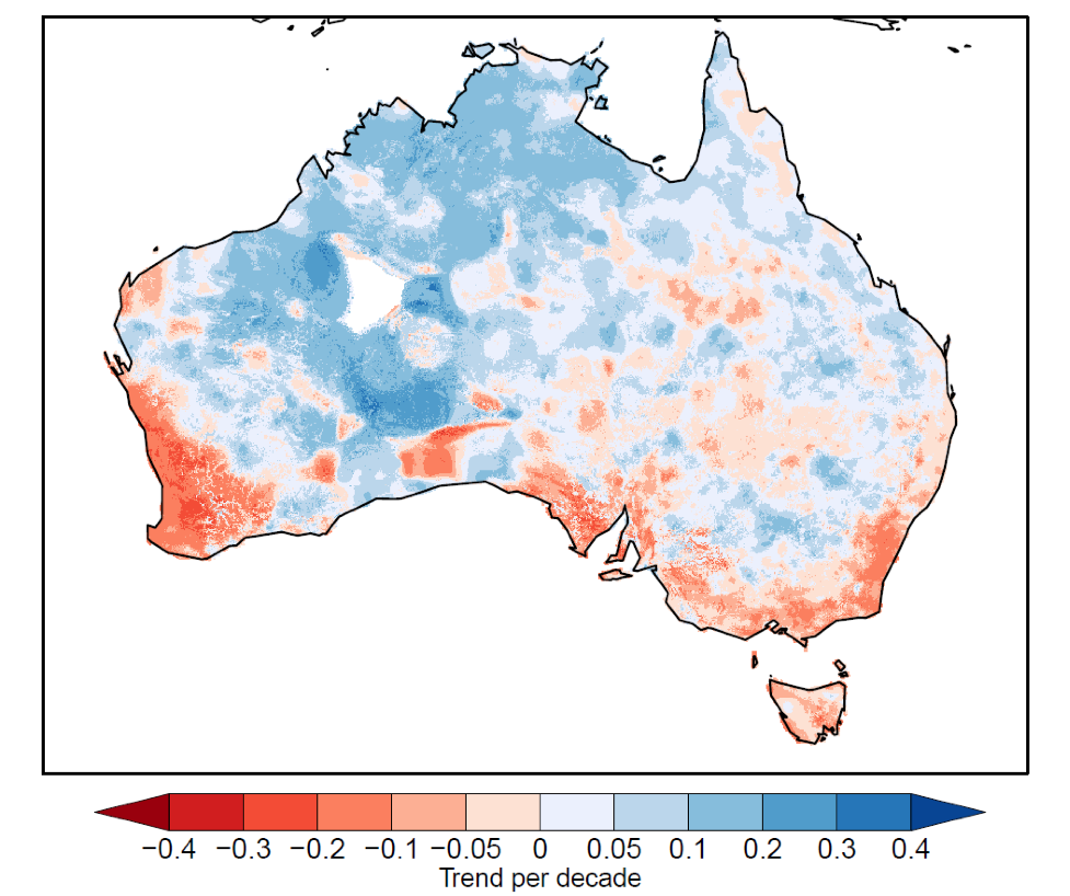 Trend in annual standardised runoff index from 1960 to 2017 using AWRA-L runoff
